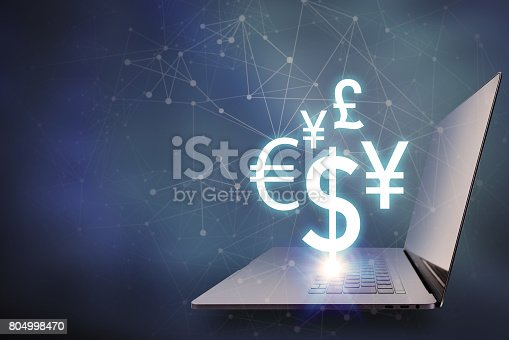istock key currency symbols floating on laptop PC, financial technology concept 804998470