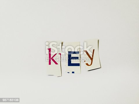 474062446istockphoto Key - Cutout Words Collage Of Mixed Magazine Letters with White Background 937183106