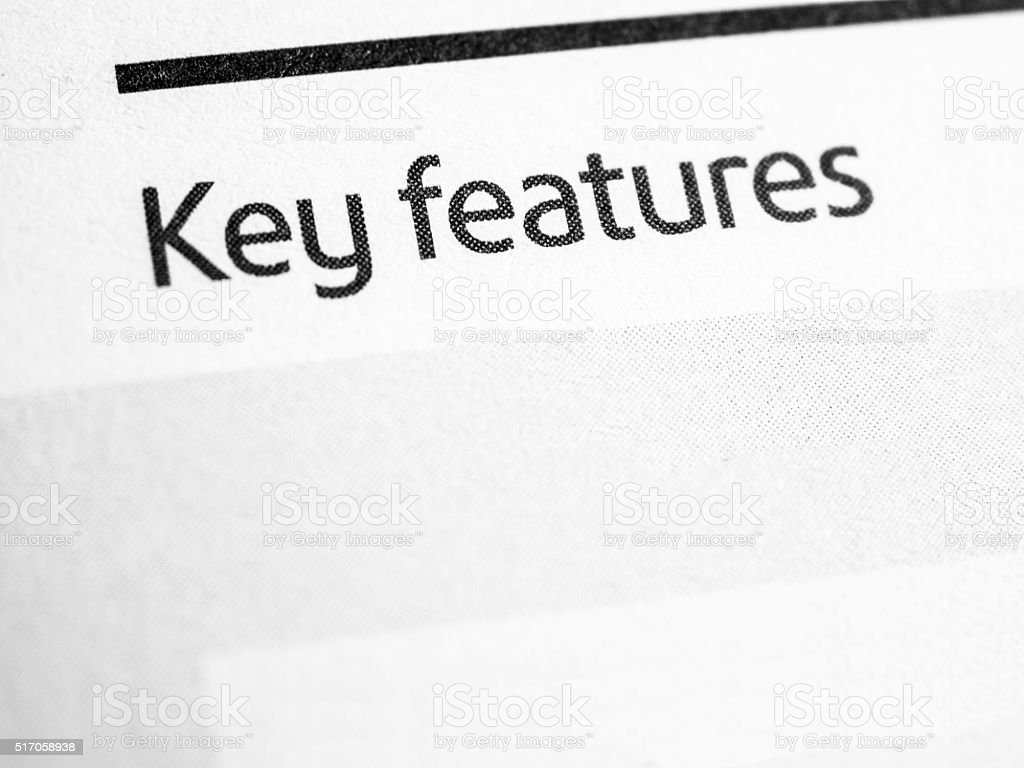 Key features stock photo