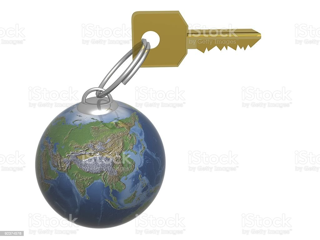 Key from the world. 3D object. royalty-free stock photo