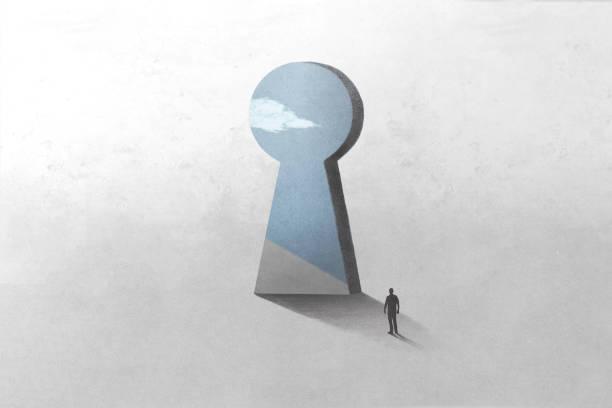 key hole shape door, optical illusion surreal concept stock photo