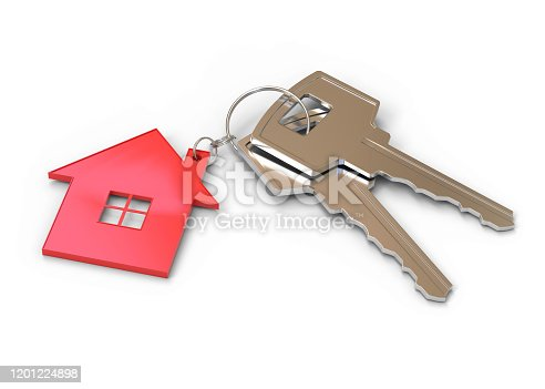 key, house, home, 3d, rendering, isolated, white, background