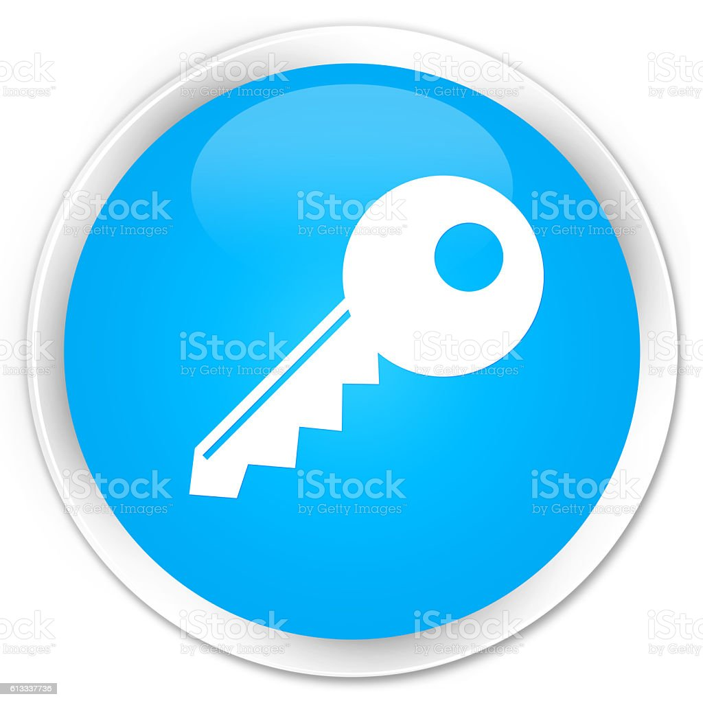 Key icon cyan blue glossy round button stock photo
