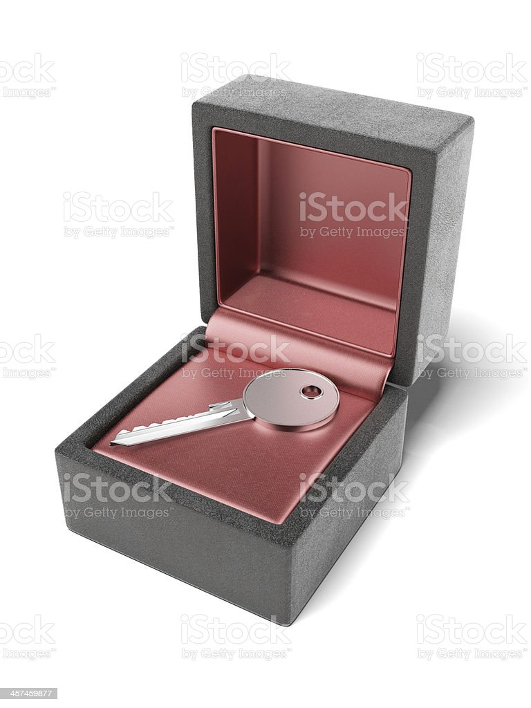key in gift box stock photo