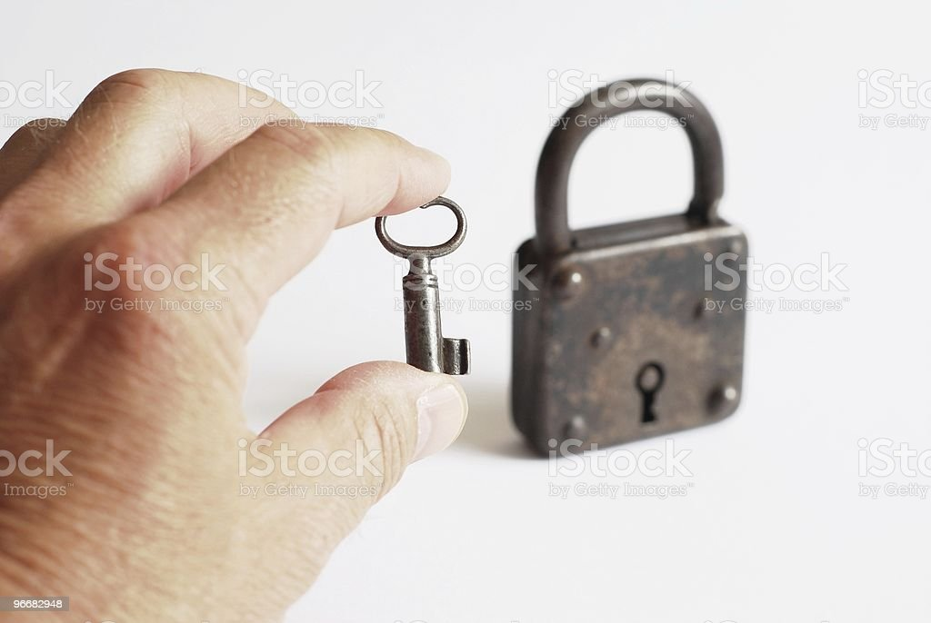 Key in his hand royalty-free stock photo