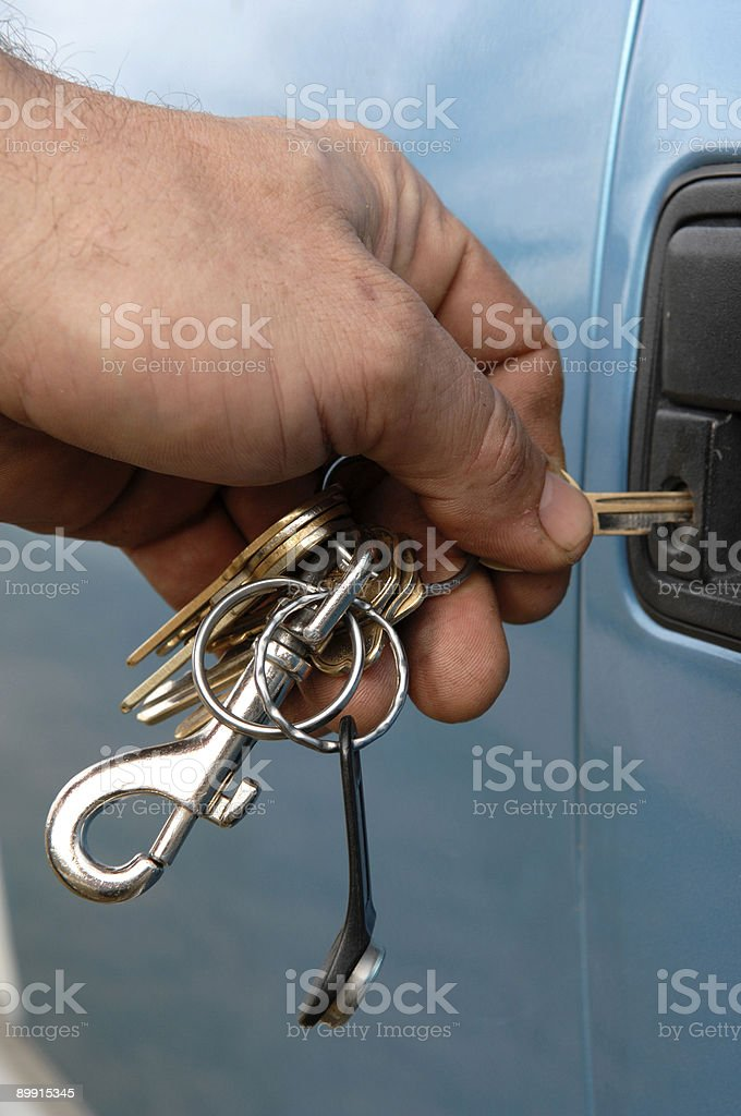 Key into Truck Lock royalty free stockfoto