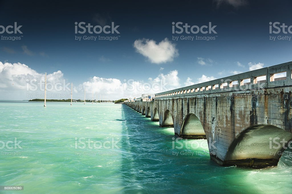 key largo bridge for the florida keys stock photo