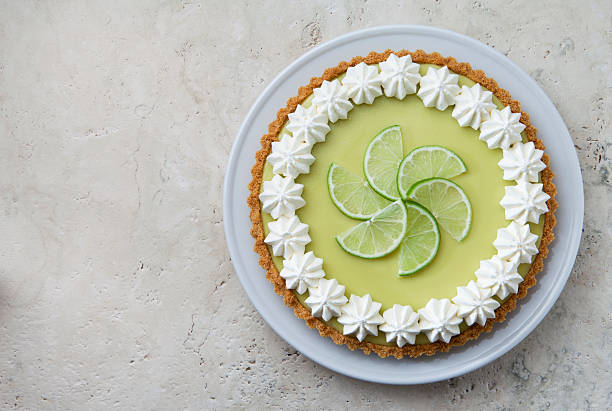 Key Lime Pie with Whipped Cream Rosettes and Lime Slices.