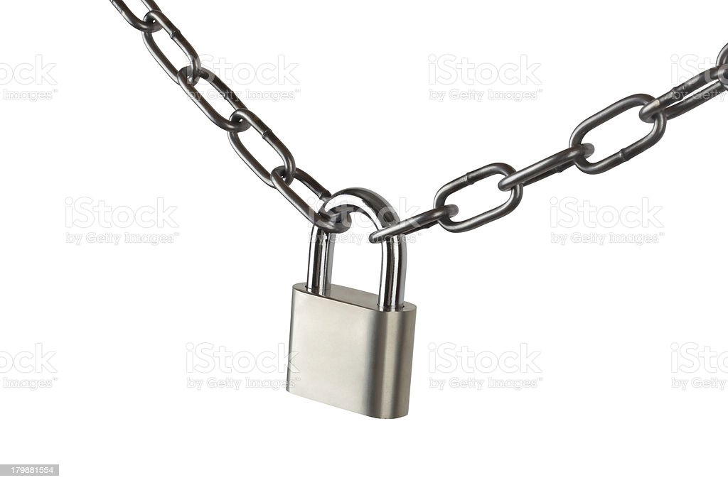 Key lock locked with a chain, clipping path royalty-free stock photo