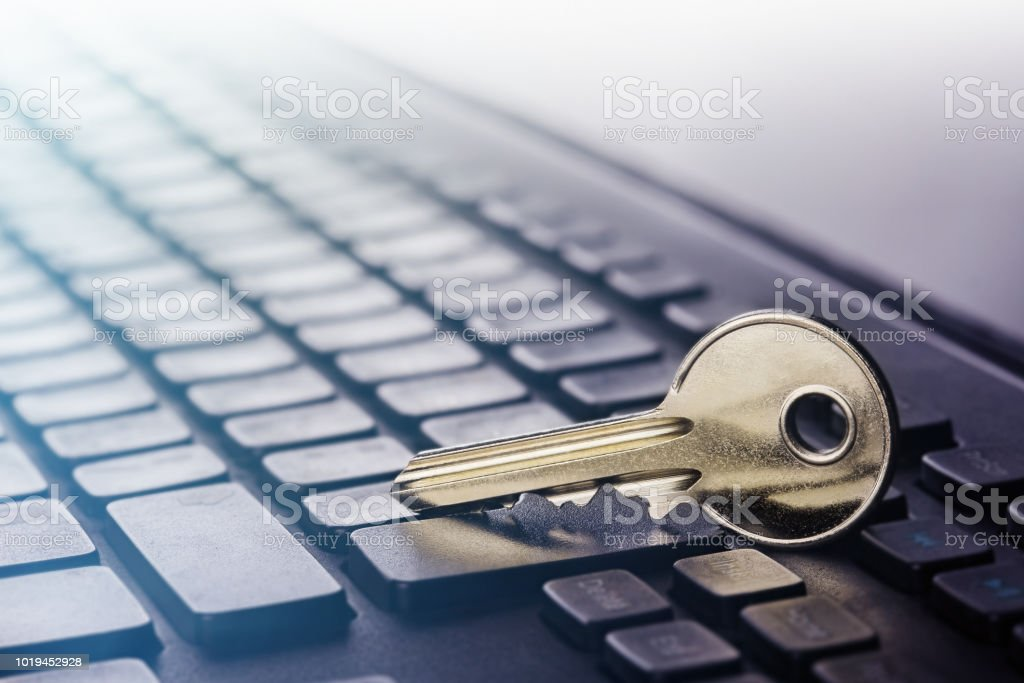 Key lock on PC keyboard. Ð¡oncept of computer security and protection...