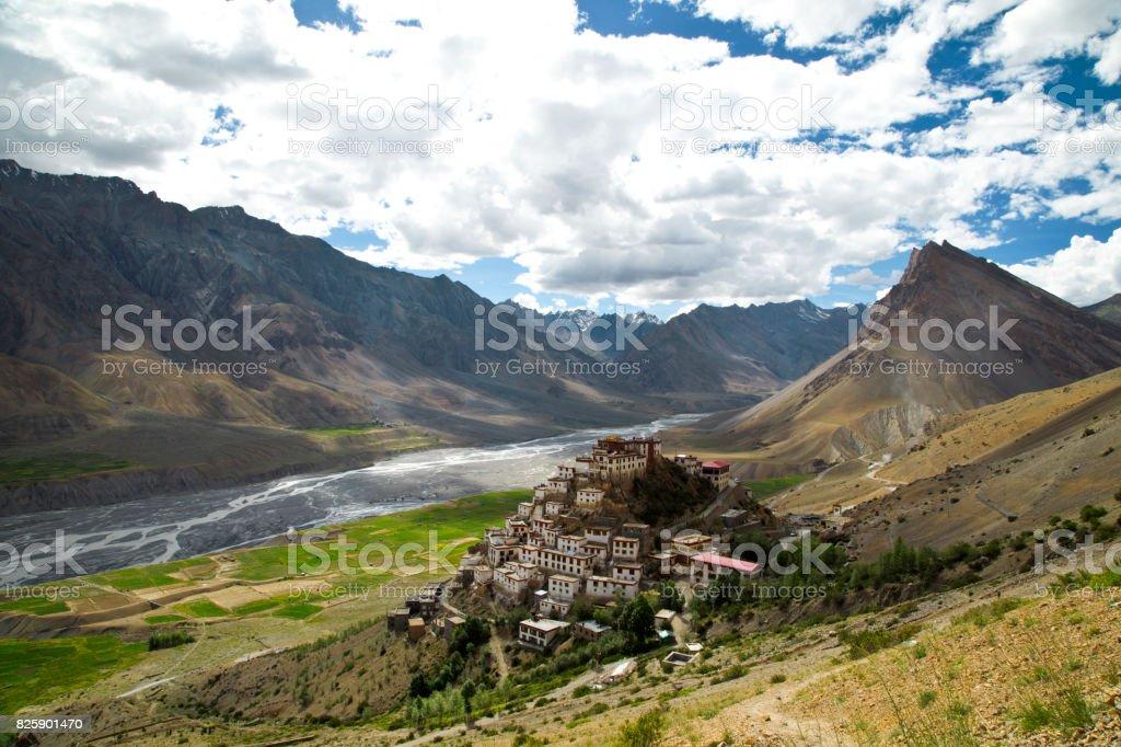 Key monastery and Himalayan mountain stock photo