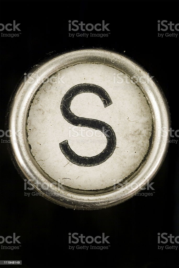 S key of a full alphabet from grungey typewriter stock photo
