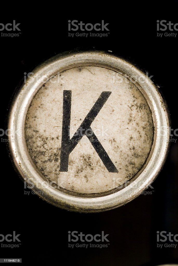 K key of a full alphabet from grungey typewriter stock photo
