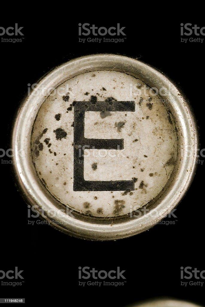 E key of a full alphabet from grungey typewriter royalty-free stock photo