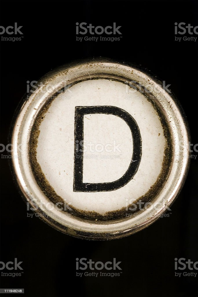 D key of a full alphabet from grungey typewriter royalty-free stock photo