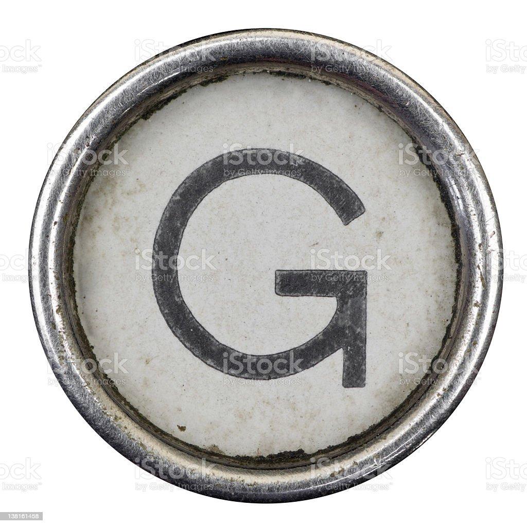 G key of a full alphabet from grungey typewriter stock photo