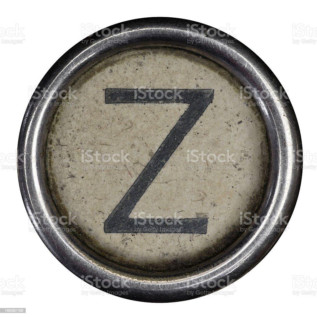 Z key of a full alphabet from grungey typewriter royalty-free stock photo