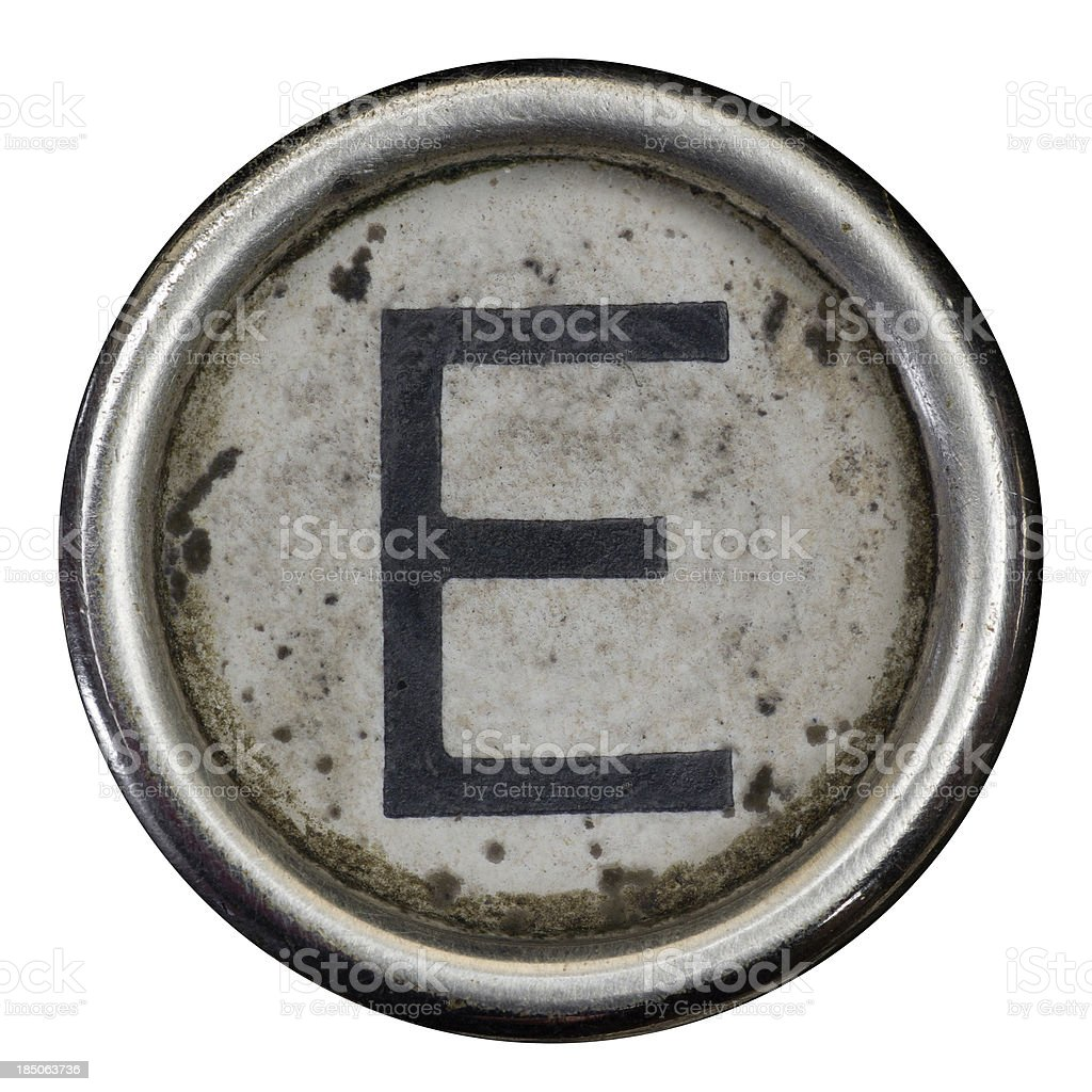 E key of a full alphabet from grungey typewriter royalty-free stock photo