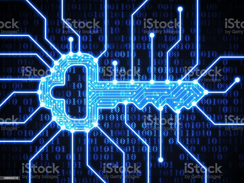 Key on digital background Key on digital background 2015 Stock Photo