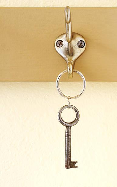 Key on hook stock photo