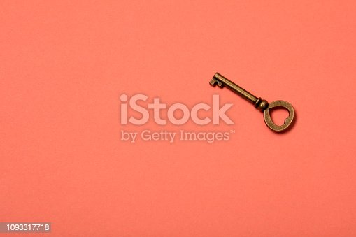 Key on living coral colour background