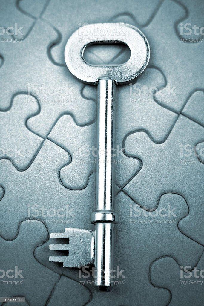 Key on puzzle royalty-free stock photo