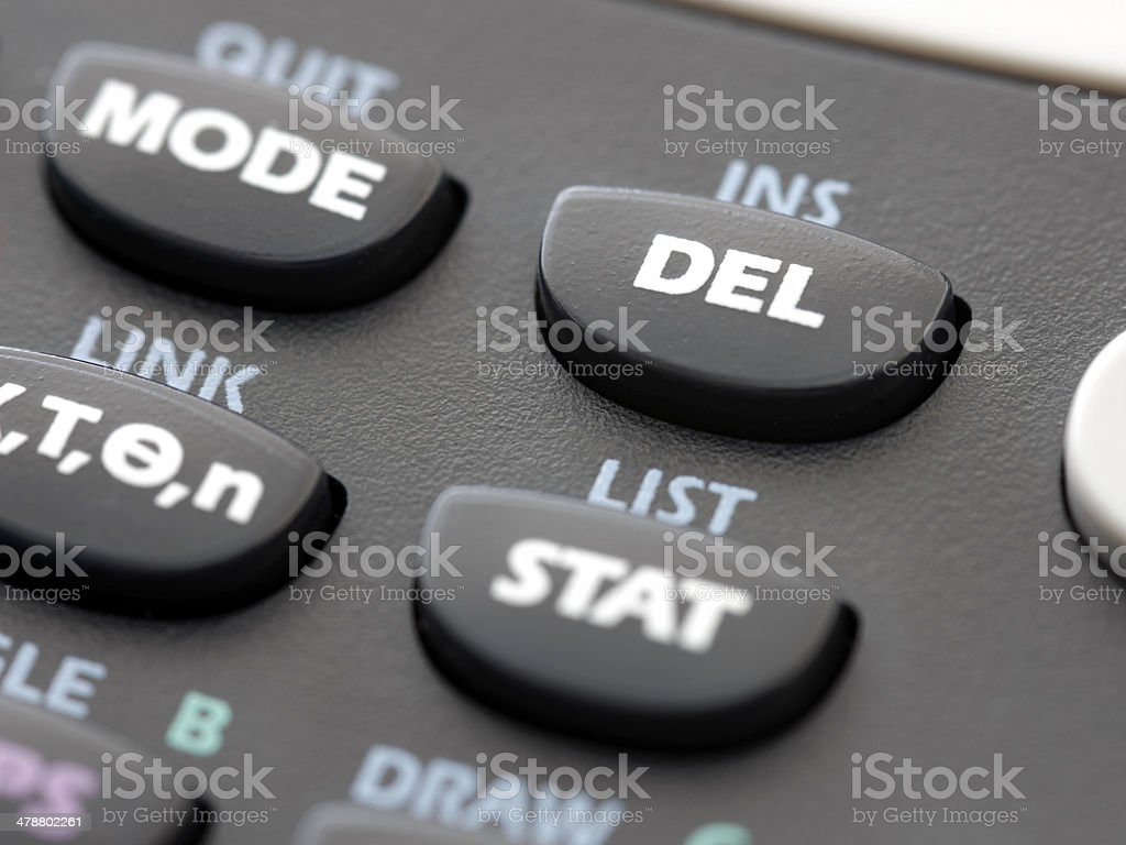 DELETE key on scientific calculator royalty-free stock photo