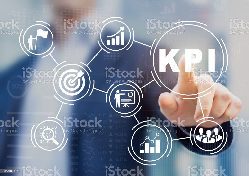 Key Performance Indicator (KPI) using BI metrics, target, success Key Performance Indicator (KPI) using Business Intelligence (BI) metrics to measure achievement versus planned target, person touching screen icon, success Achievement Stock Photo