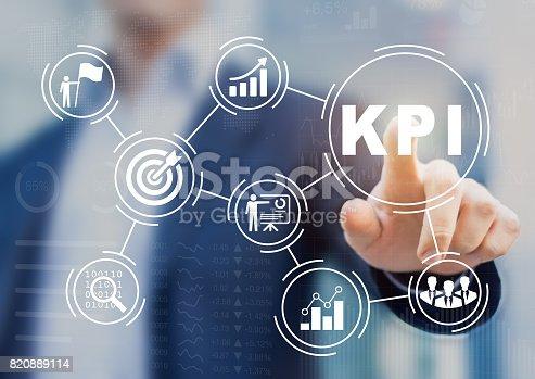 istock Key Performance Indicator (KPI) using BI metrics, target, success 820889114
