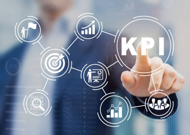 Key Performance Indicator (KPI) using BI metrics, target, success stock photo