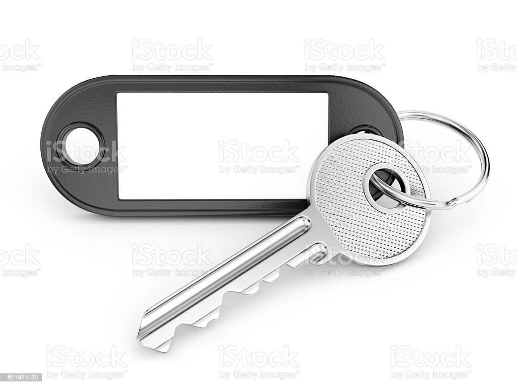 Key ring with plank copy space stock photo