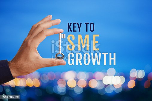Business man's hand holding and raising key with word Key to SME GROWTH on abstract twilight bokeh night scene background. Business concept of key to SME growth.