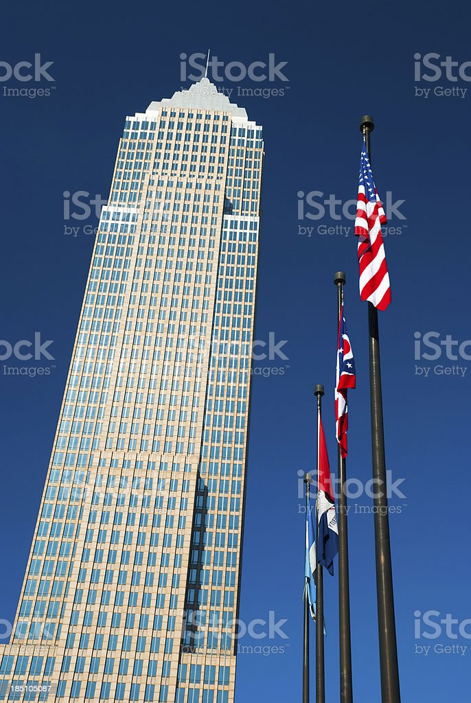 Key Tower and flags stock photo