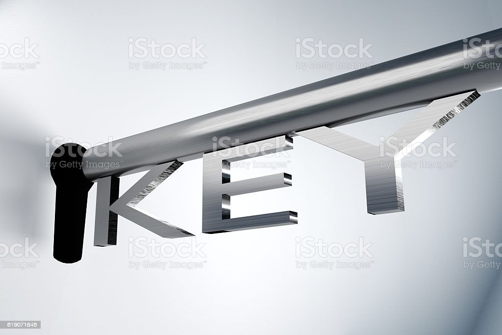 key unlocks keyhole 3D Illustration stock photo
