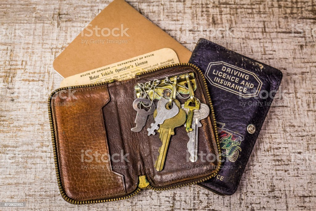 Key Wallet with vintage drivers license stock photo