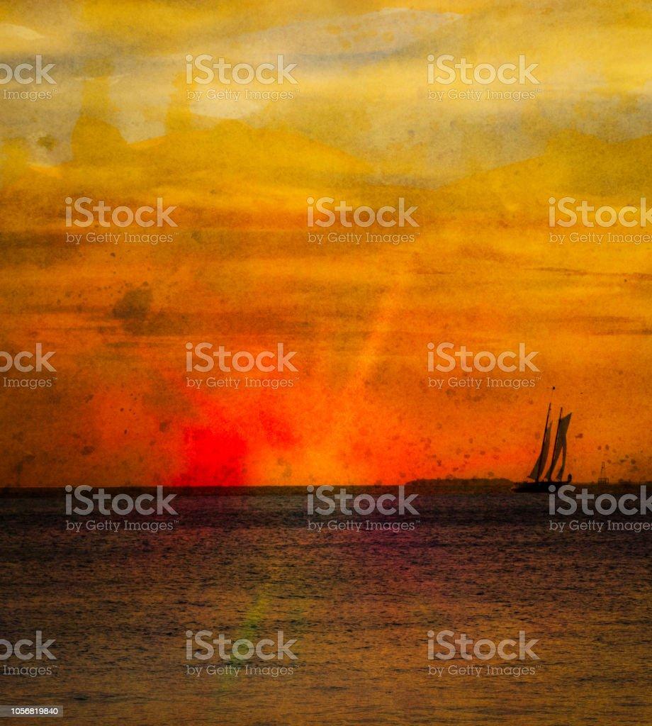 Key West at Sunset stock photo