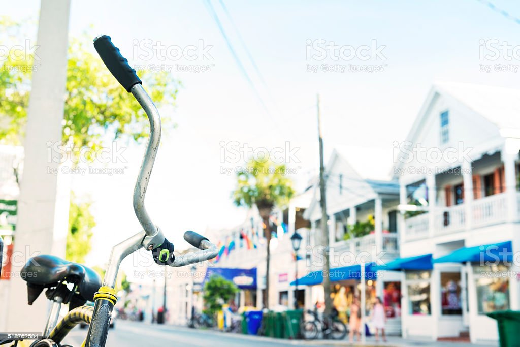 Key West Bicycle Parked on Duval Street Travel Destinations USA stock photo