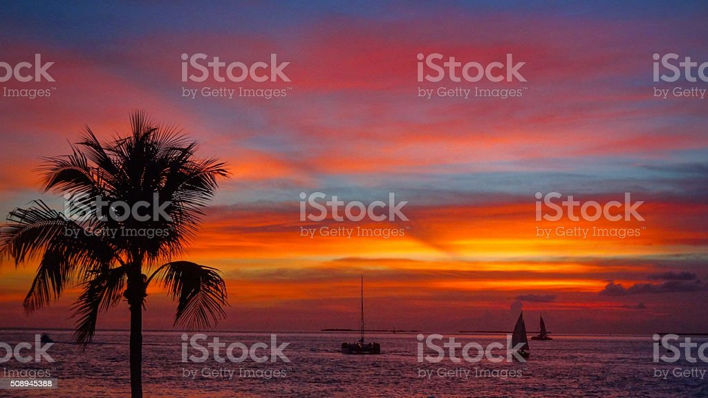 Key West sunset moments stock photo