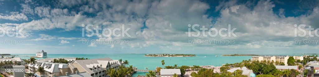 Key West tropical skies turquoise ocean panorama Florida USA stock photo