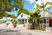 View of the street in the historical district of Key West, USA