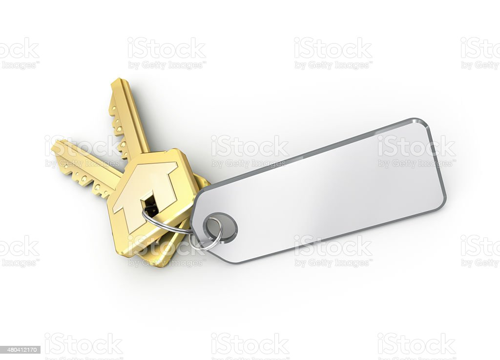 Key with blank card. isolated on white. stock photo