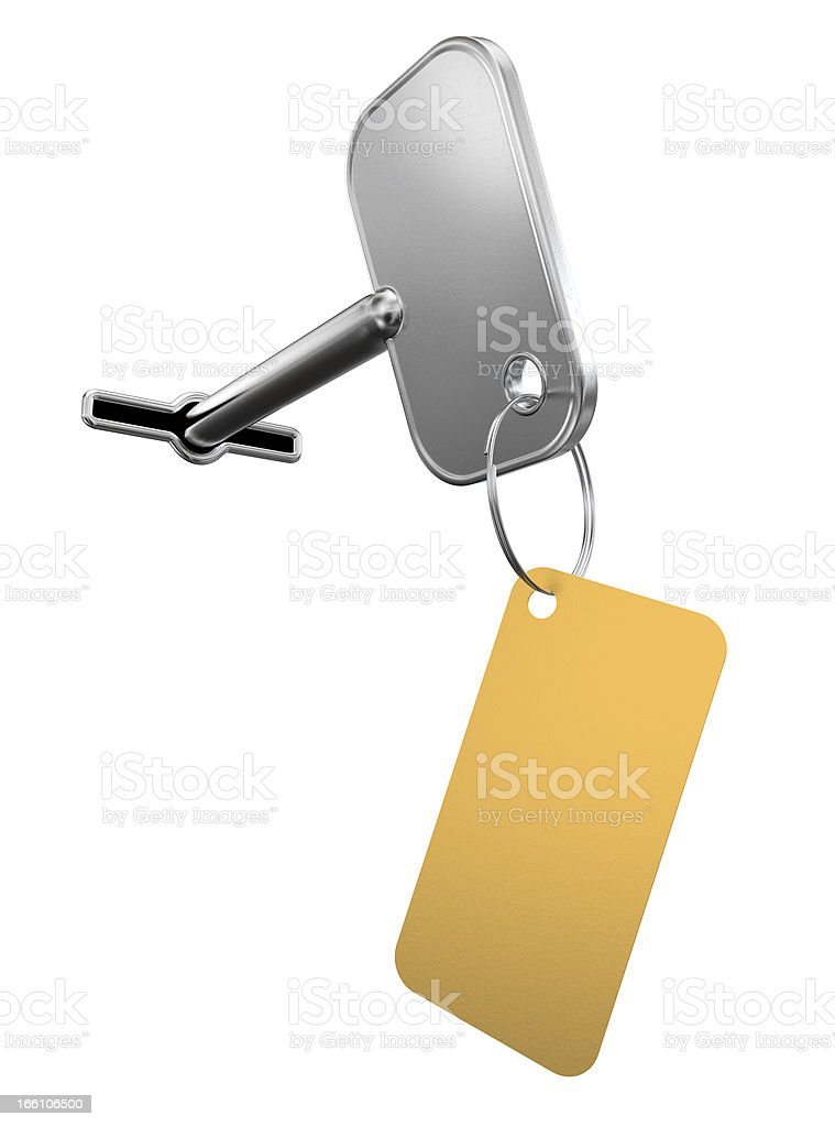 key with golden label royalty-free stock photo