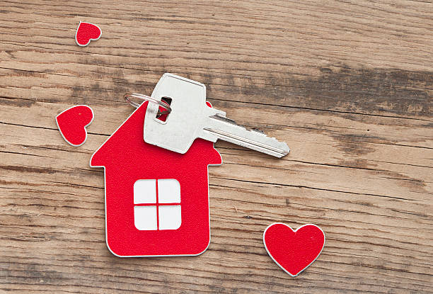 key with label home stock photo