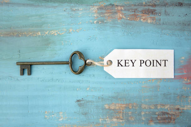 Key with tag KEY POINT words are written stock photo