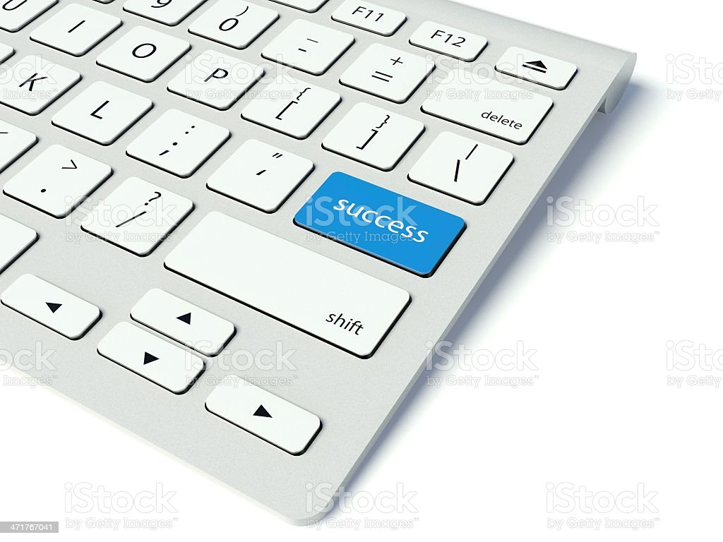 Keyboard and blue Success button, business concept royalty-free stock photo