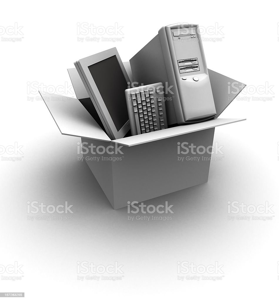 LCD, Keyboard and computer in a box royalty-free stock photo