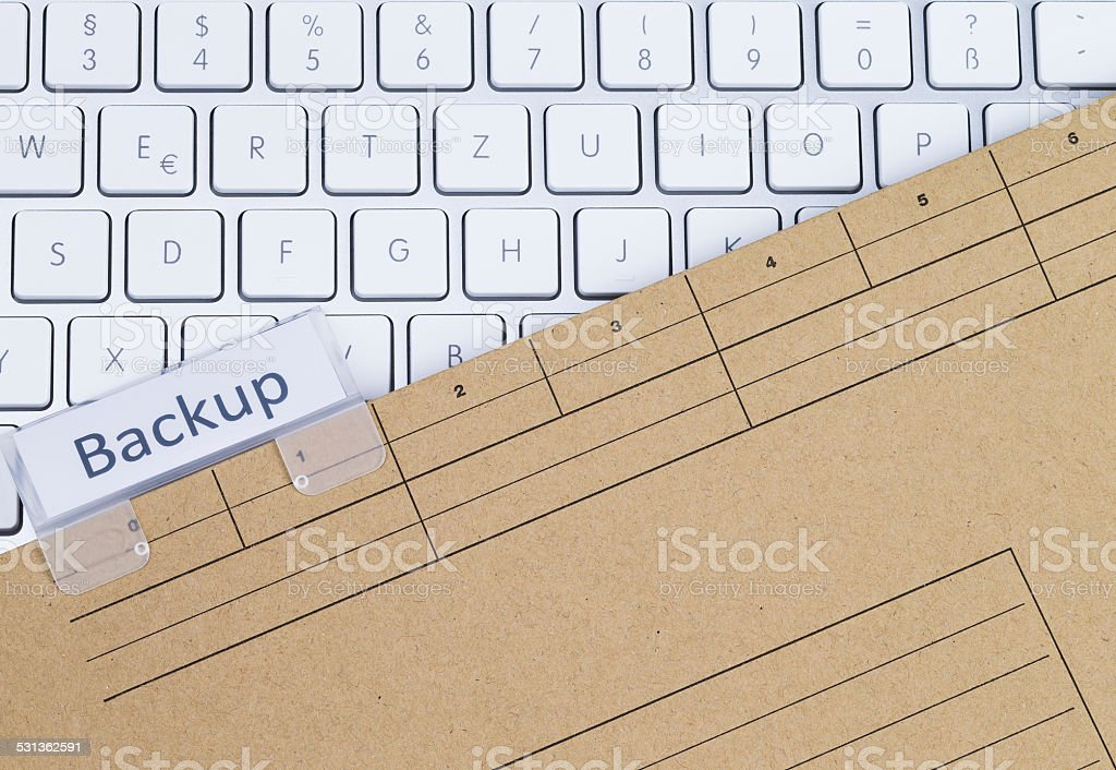 Keyboard and folder backup stock photo