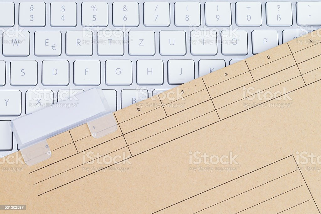 Keyboard and folder blanc stock photo