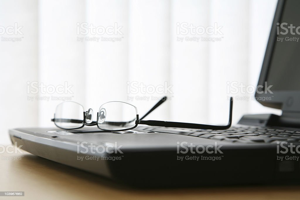 Keyboard and Glasses royalty-free stock photo