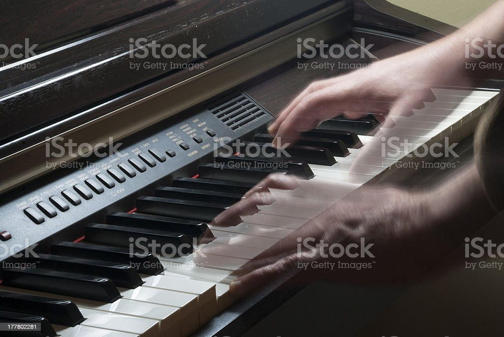 Keyboard and moving hands royalty-free stock photo